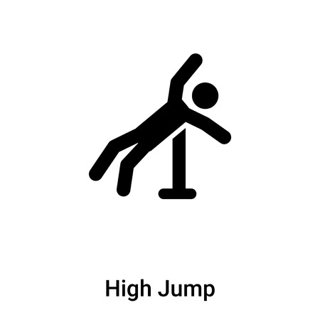 High Jump icon vector isolated on white background,  concept of High Jump sign on transparent background, filled black symbol Illustration