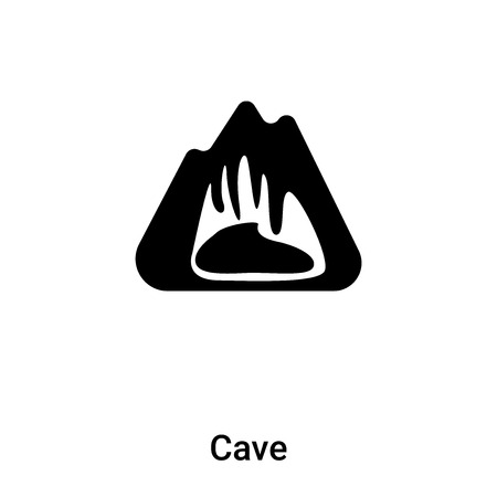 Cave icon vector isolated on white background, filled black symbol Illustration