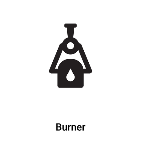 Burner icon vector isolated on white background, filled black symbol