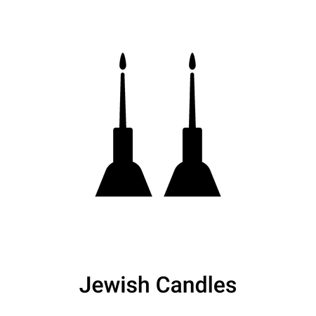 Jewish Candles icon vector isolated on white background, filled black symbol