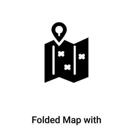 Folded Map with Placeholder icon vector isolated on white background, filled black symbol