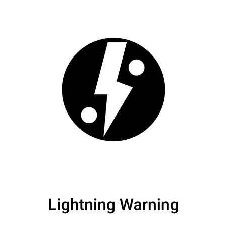 Lightning Warning icon vector isolated on white background filled black symbol