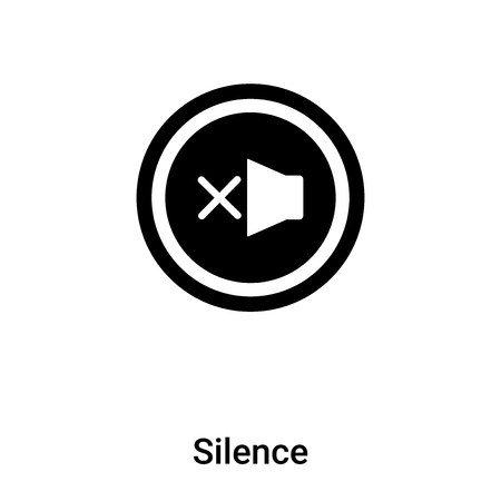 Silence icon vector isolated on white background,  filled black symbol