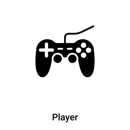 Player icon vector isolated on white background. black and white symbol