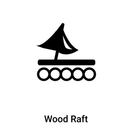 Vecteur d'icône de radeau en bois isolé sur fond blanc, rempli de symbole noir