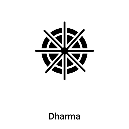 Dharma icon vector isolated on white background, filled black symbol Illustration