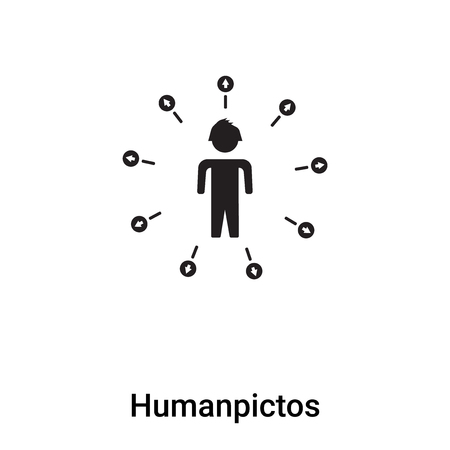Humanpictos icon vector isolated on white background, filled black symbol Illustration