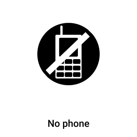 No phone icon vector isolated on white background, filled black symbol