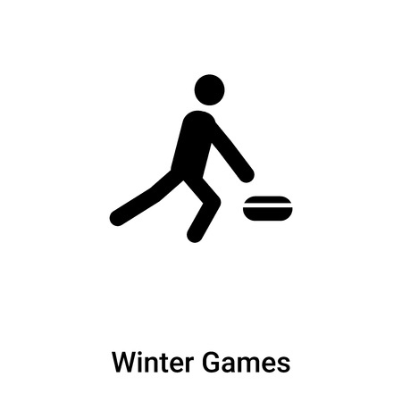 Winter Games icon vector isolated on white background, filled black symbol