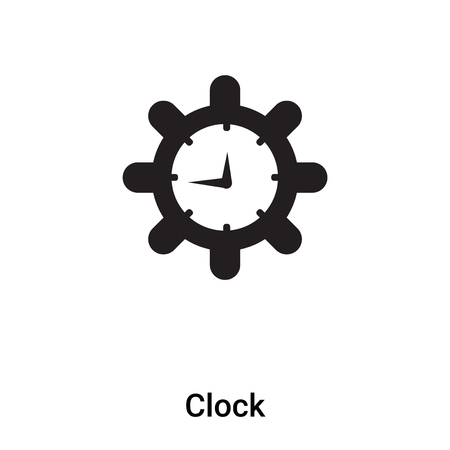 Clock icon vector isolated on white background, filled black symbol