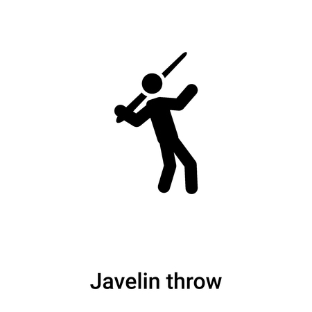 Javelin throw icon vector isolated on white background, filled black symbol Vectores
