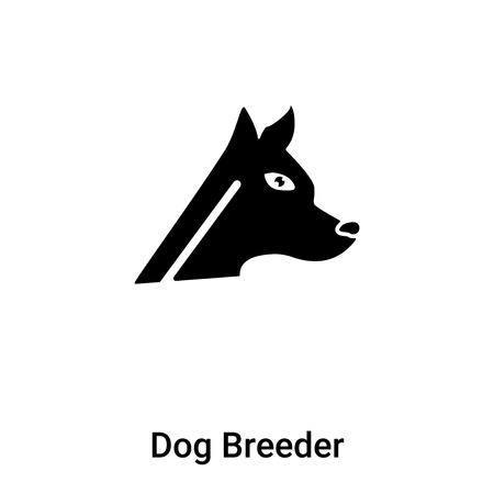 Dog Breeder icon vector isolated on white background, filled black symbol
