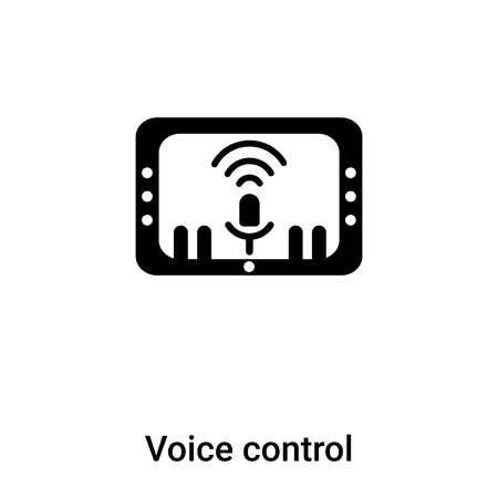 Voice control icon vector isolated on white background, concept of Voice control sign on transparent background, filled black symbol