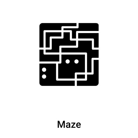 Maze icon vector isolated on white background, filled black symbol