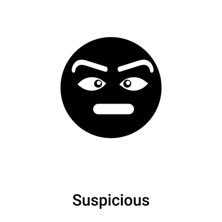 Suspicious icon vector isolated on white background, filled black symbol