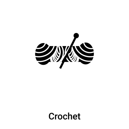 Crochet icon vector isolated on white background, filled black symbol