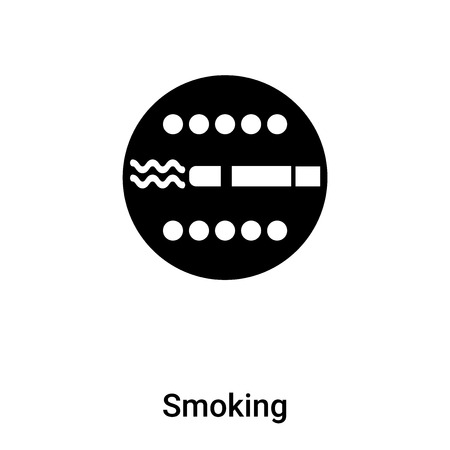Smoking icon vector isolated on white background, filled black symbol Vectores