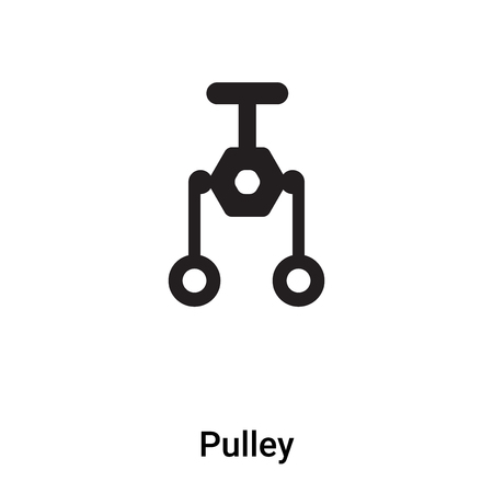Pulley icon vector isolated on white background,  concept of Pulley sign on transparent background, filled black symbol