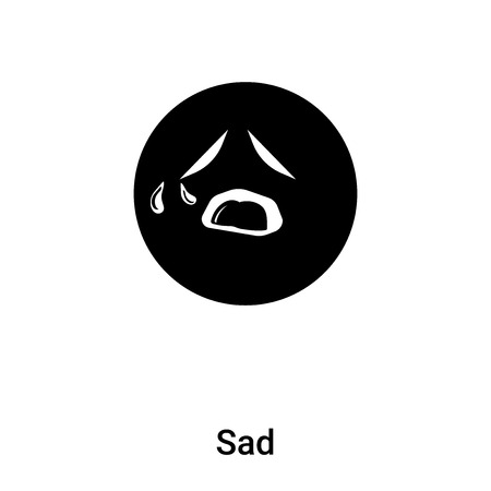 Sad icon vector isolated on white background, concept of Sad sign on transparent background, filled black symbol Stock Illustratie