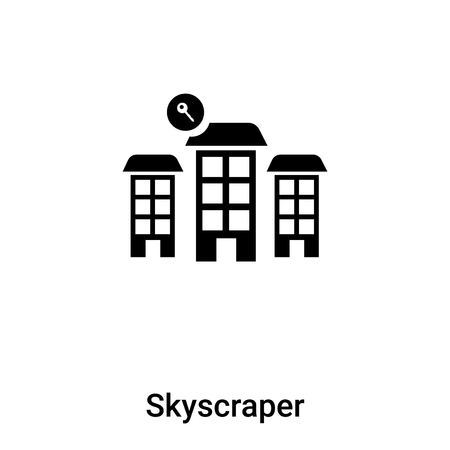 Skyscraper icon vector isolated on white background, concept of Skyscraper sign on transparent background, filled black symbol