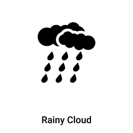 Rainy Cloud icon vector isolated on white background, logo concept of Rainy Cloud sign on transparent background, filled black symbol
