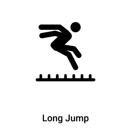 Long Jump icon vector isolated on white background, logo concept of Long Jump sign on transparent background, filled black symbol