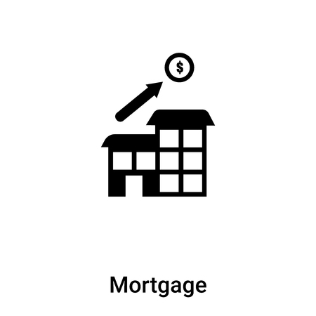Mortgage icon vector isolated on white background, logo concept of Mortgage sign on transparent background, filled black symbol