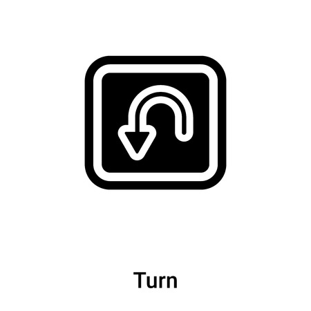 Turn icon vector isolated on white background, concept of Turn sign on transparent background, filled black symbol