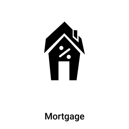 Mortgage icon vector isolated on white background, concept of Mortgage sign on transparent background, filled black symbol