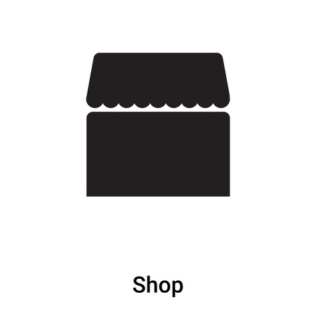 Shop icon vector isolated on white background,  concept of Shop sign on transparent background, filled black symbol Ilustracja