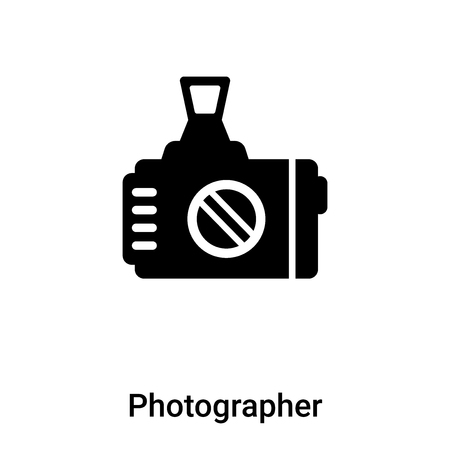 Photographer icon vector isolated on white background, concept of Photographer sign on transparent background, filled black symbol