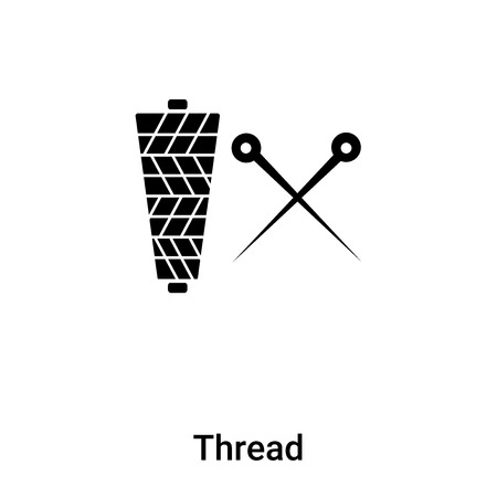Thread icon vector isolated on white background, concept of Thread sign on transparent background, filled black symbol