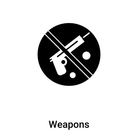 Weapons icon vector isolated on white background, logo concept of Weapons sign on transparent background, filled black symbol