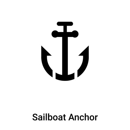 Sailboat Anchor icon vector isolated on white background, logo concept of Sailboat Anchor sign on transparent background, filled black symbol