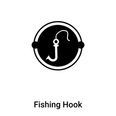 Fishing Hook icon vector isolated on white background, logo concept of Fishing Hook sign on transparent background, filled black symbol