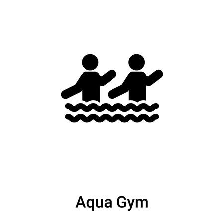 Aqua Gym wektor ikona na białym tle na białym tle, koncepcja logo znaku Aqua Gym na przezroczystym tle, wypełniony czarny symbol