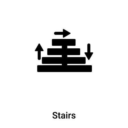 Stairs icon vector isolated on white background,  concept of Stairs sign on transparent background, filled black symbol Illusztráció