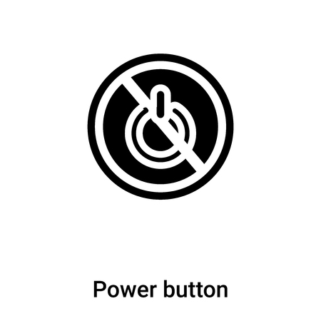 Power button icon vector isolated on white background, concept of Power button sign on transparent background, filled black symbol Illustration