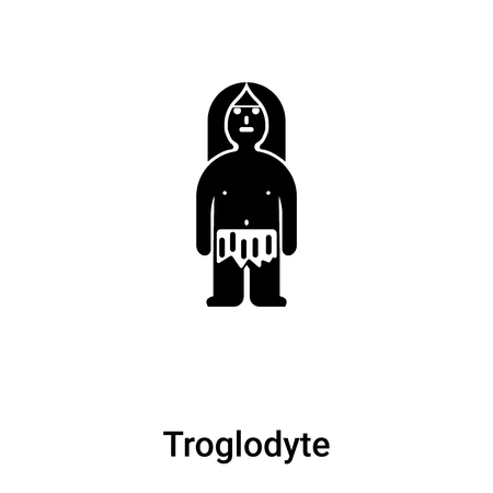 Troglodyte icon vector isolated on white background, concept of Troglodyte sign on transparent background, filled black symbol Illustration