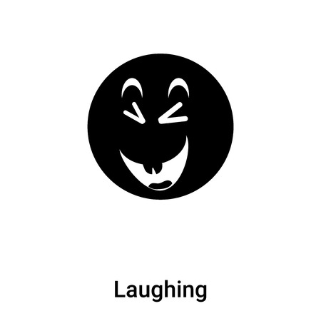 Laughing icon vector isolated on white background,  concept of Laughing sign on transparent background, filled black symbol