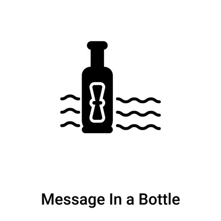 Message In a Bottle icon vector isolated on white background, logo concept of Message In a Bottle sign on transparent background, filled black symbol
