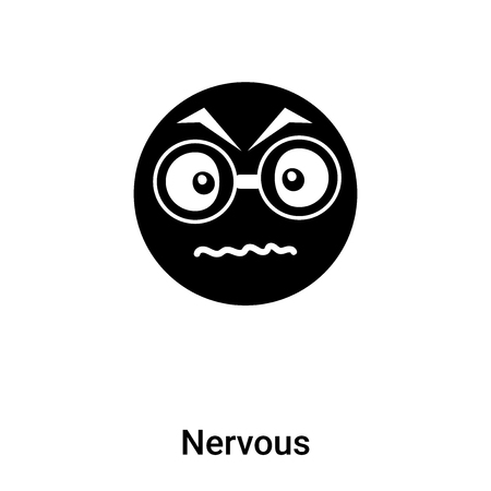 Nervous icon vector isolated on white background,  concept of Nervous sign on transparent background, filled black symbol Vettoriali