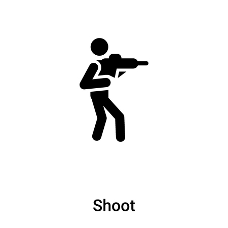 Shoot icon vector isolated on white background, concept of Shoot sign on transparent background, filled black symbol
