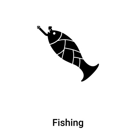 Fishing icon isolated on white background,  concept of Fishing sign on transparent background, filled black symbol