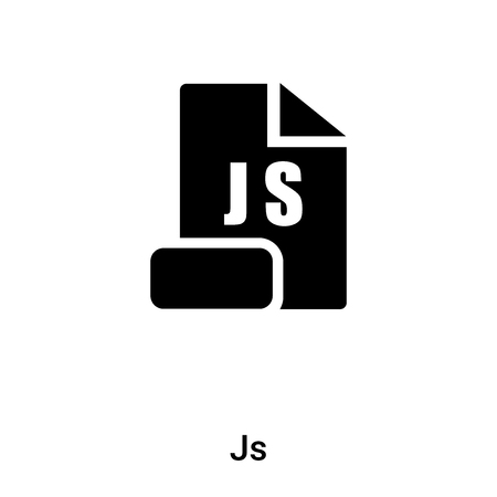 Js icon isolated on white background, concept of Js sign on transparent background, filled black symbol