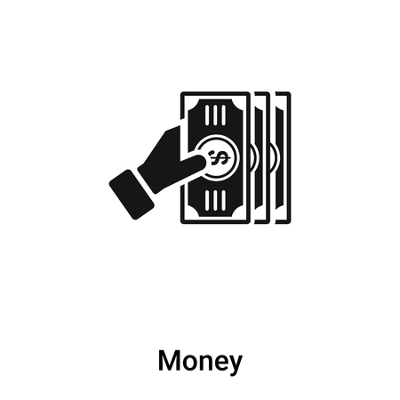 Money icon isolated on white background, concept of Money sign on transparent background, filled black symbol