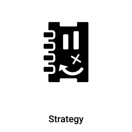 Strategy icon isolated on white background,  concept of Strategy  sign on transparent background, filled black symbol