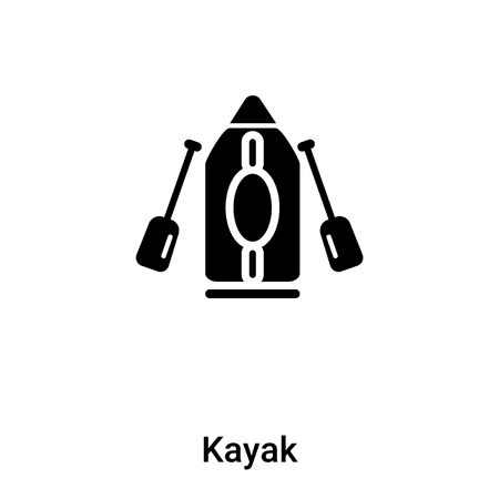 Kayak icon isolated on white background, concept of Kayak sign on transparent background, filled black symbol