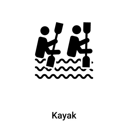 Kayak icon isolated on white background,  concept of Kayak sign on transparent background, filled black symbol Иллюстрация