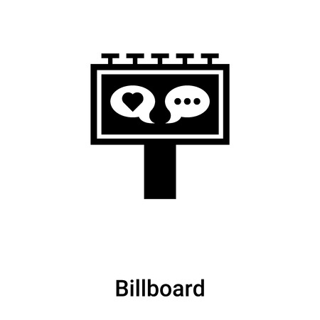 Billboard icon isolated on white background,  concept of Billboard sign on transparent background, filled black symbol